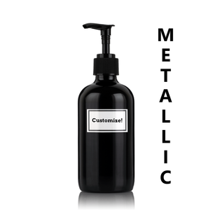 Metallic Black Powder Coated Glass 8 oz Pump Bottle