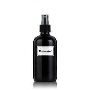 Metallic Black Powder Coated Glass 8 oz Spray Bottle