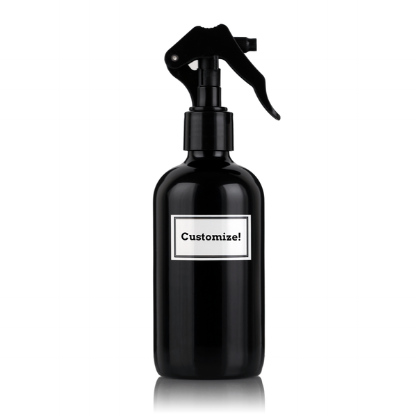 Black Powder Coated Glass 8 oz Spray Bottle