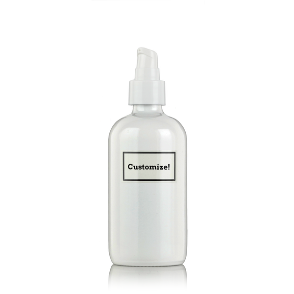 White Powder Coated Glass 8 oz Pump Bottle