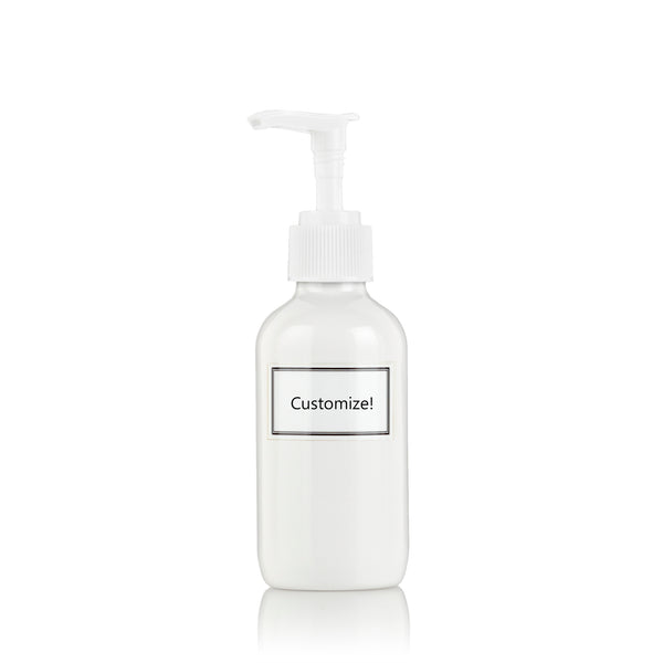 White Powder Coated Glass Small 4 oz Pump Bottle