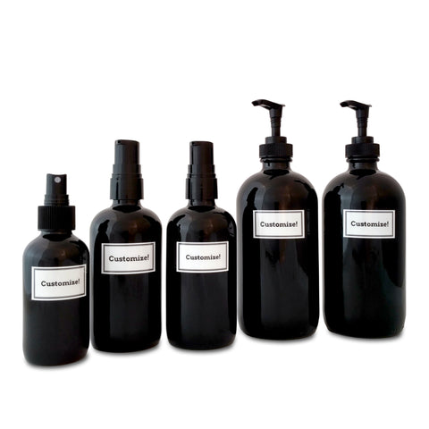 black glass soap dispensers with black pumps