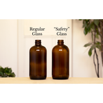 Amber Brown Safety Glass Soap Dispenser Bottle with Retro Label