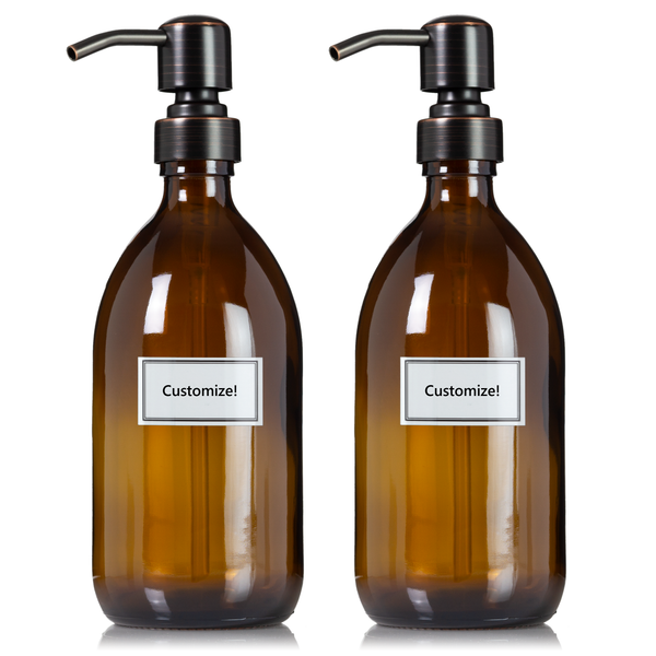 Amber Glass 16 oz Apothecary Bottle Duo with Customized Labels