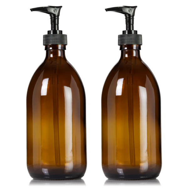 Amber Glass 16 oz Apothecary Bottle Duo with Choice of Pumps