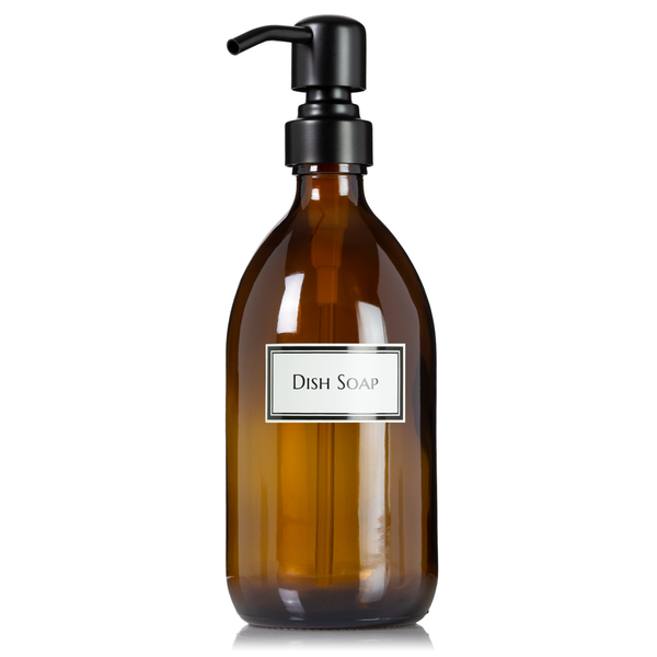 Ceramic Printed Amber Apothecary Glass Dish Soap, Hand Soap or Hand Sanitizer Pump Bottle