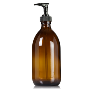 Amber Glass 16 oz Apothecary Pump Bottle with Choice of Pump