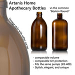 Amber Brown Glass Dish Soap Dispenser Apothecary Bottle with Ceramic Printed Label