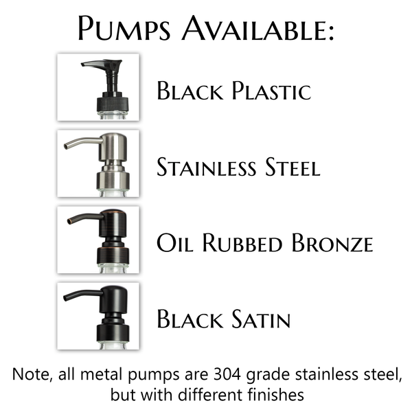 "Amber ""Safety"" Glass Pump Dispenser with Modern Apothecary Label and Choice of Pumps"