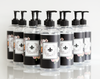 10-Pack Customized Clear PET Plastic Pump Dispenser Bottles with Vinyl Labels (Black Floral Design)