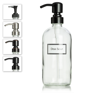 Ceramic Printed Clear Glass Dish Soap Dispenser