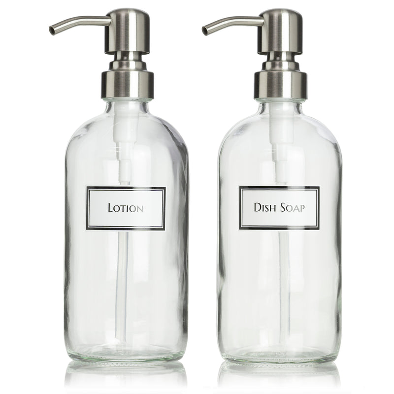 2 Clear Glass Boston Round Dispenser Bottles with Ceramic Printed Labels