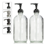 2 Clear Glass Boston Round Soap Dispenser Bottles