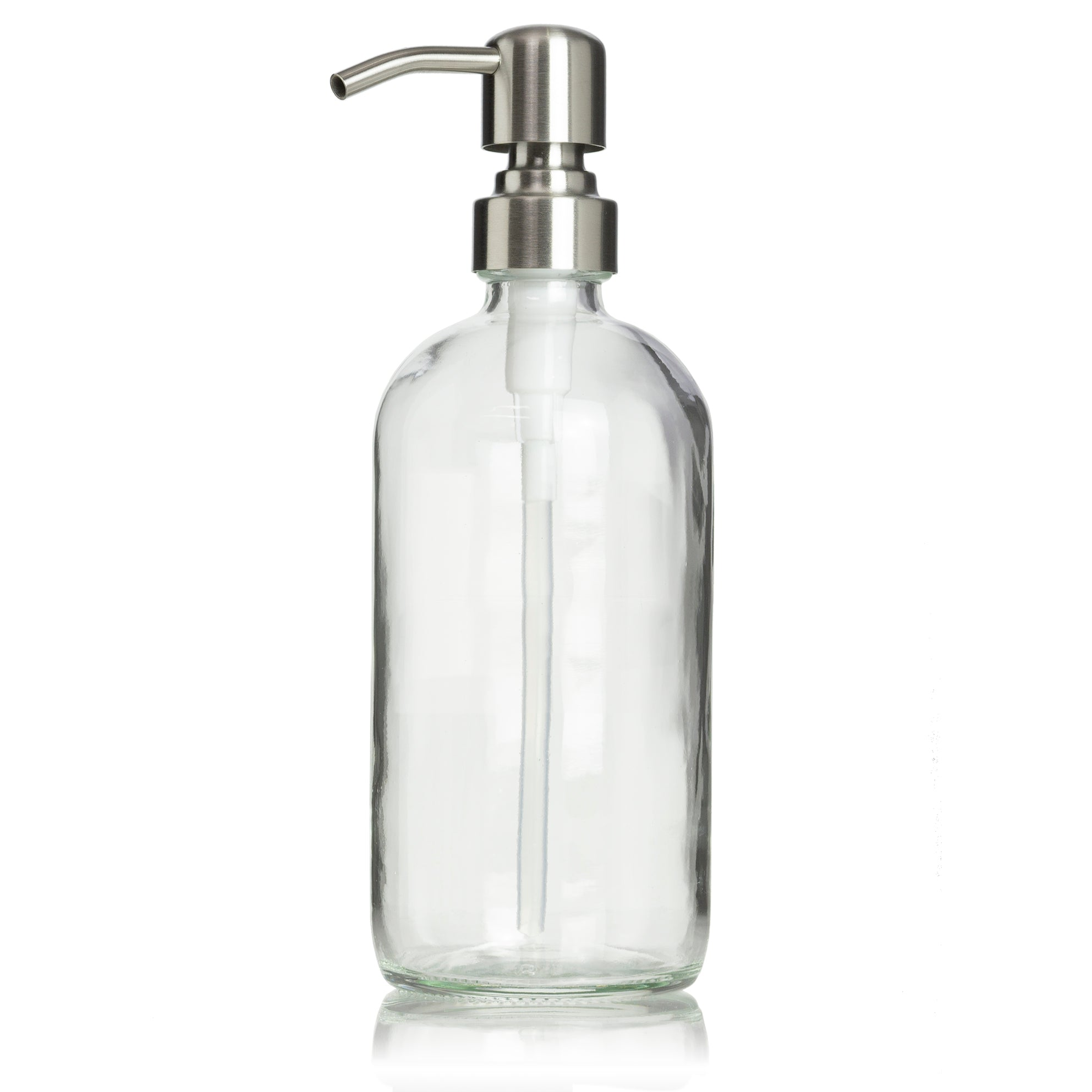 Clear Glass 16 oz Boston Round Pump Dispenser with Your Choice of Pump