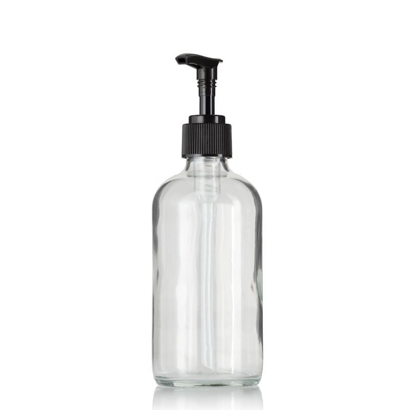 Clear Glass Soap Dispenser Bottle 8oz Boston Round