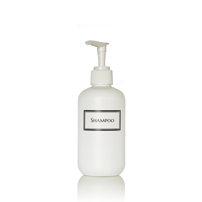 Silkscreened 8oz White Single Shower Bottle
