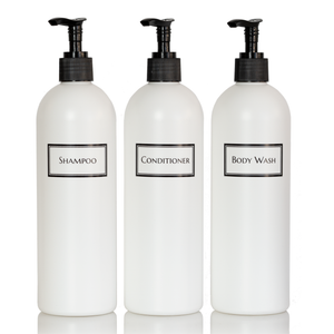 Silkscreened Cosmo/Bullet White Shower Bottle Trio