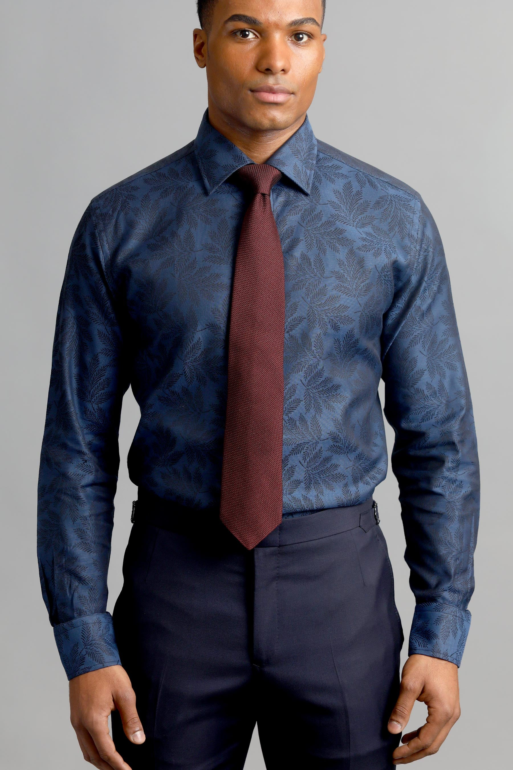 Blue Tone-on-Tone Floral Cotton Shirt