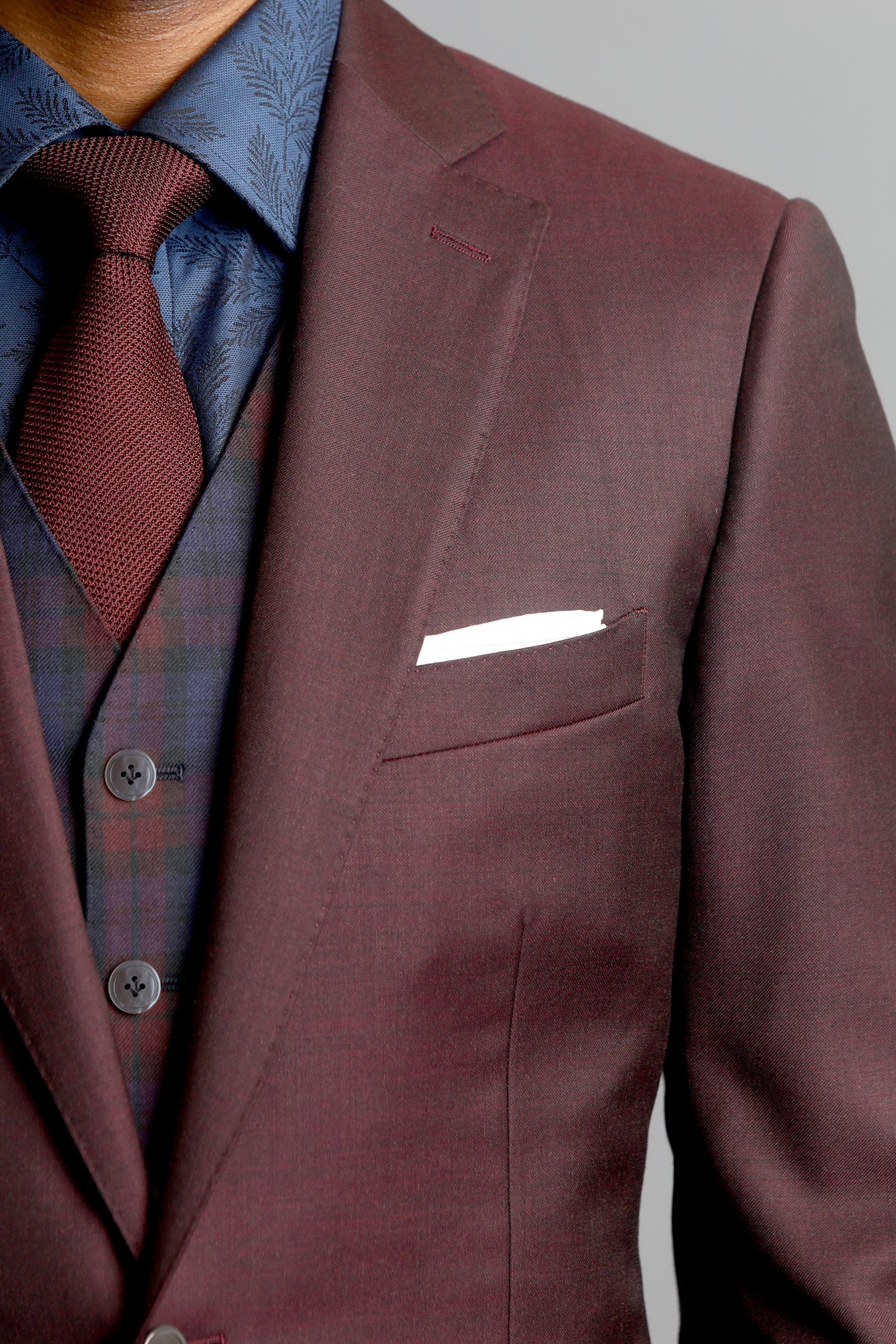 Maroon Sharkskin Two-Button Wool Jacket