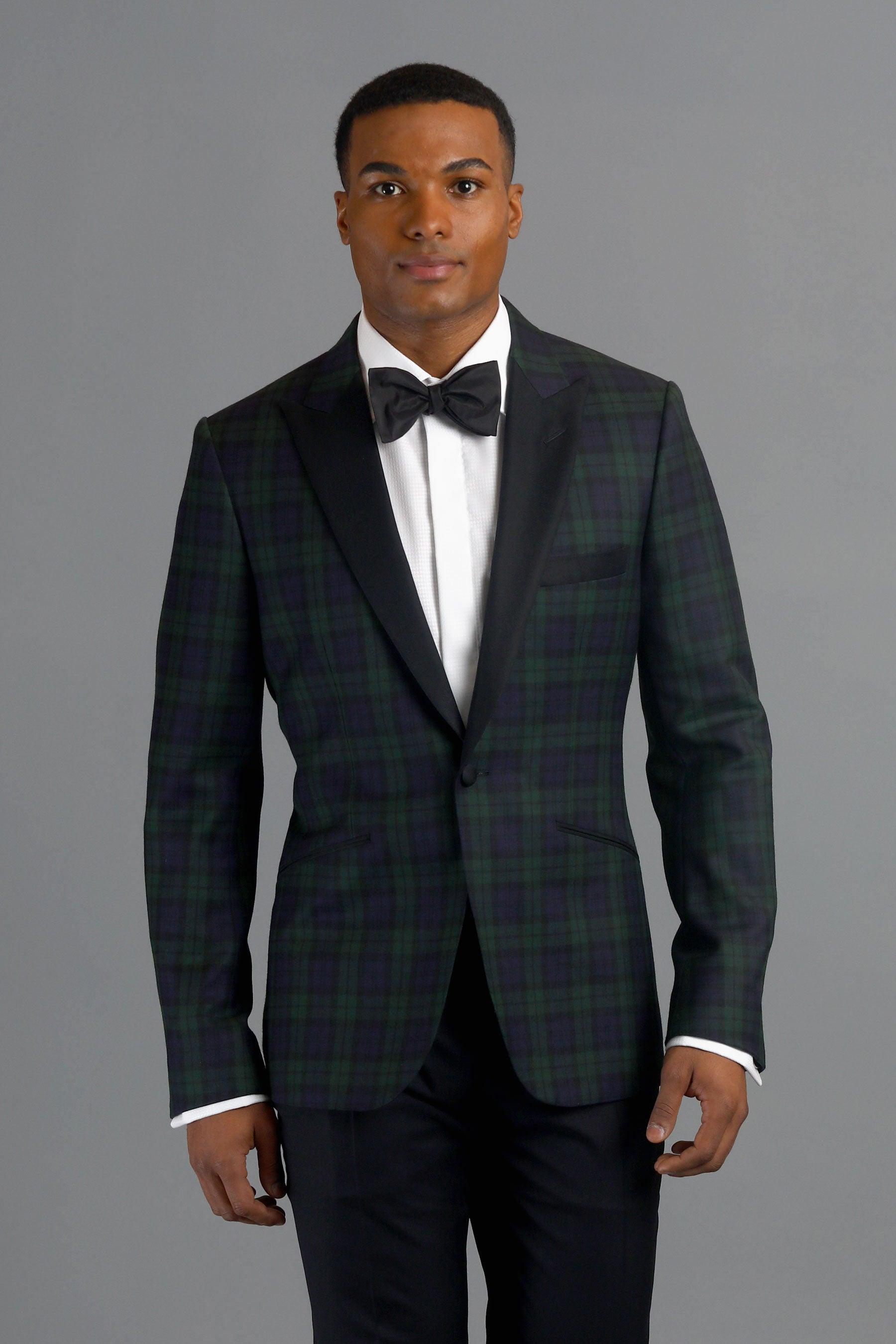 Black Watch Tartan One-Button Wool Dinner Jacket