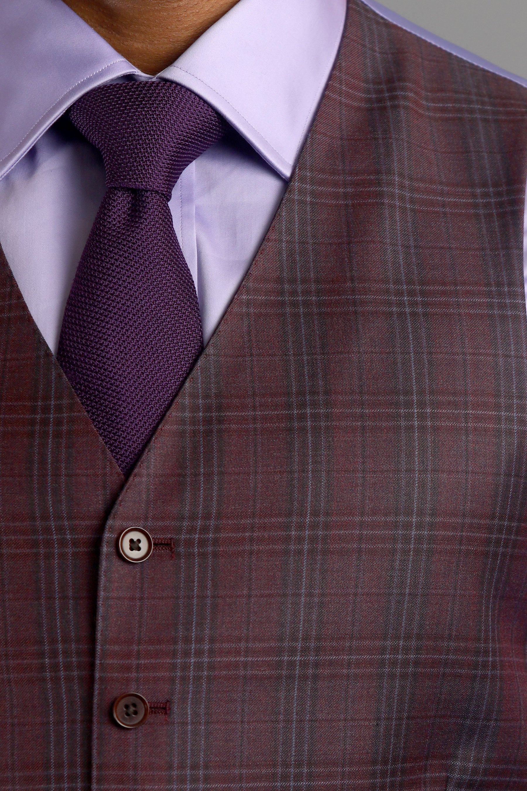 Maroon Plaid Six-Button Suit Vest