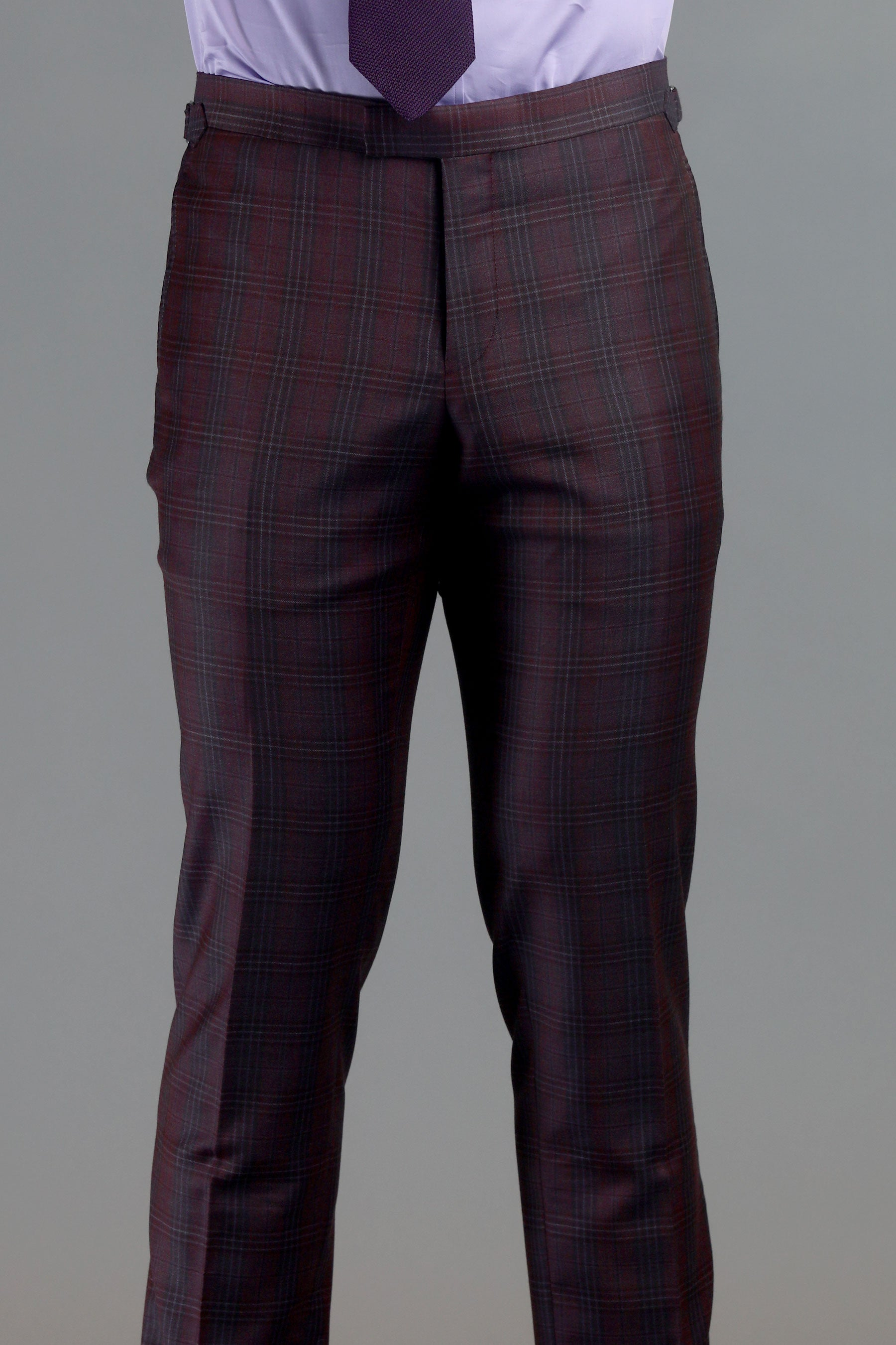 Maroon Plaid Two-Button Wool Suit