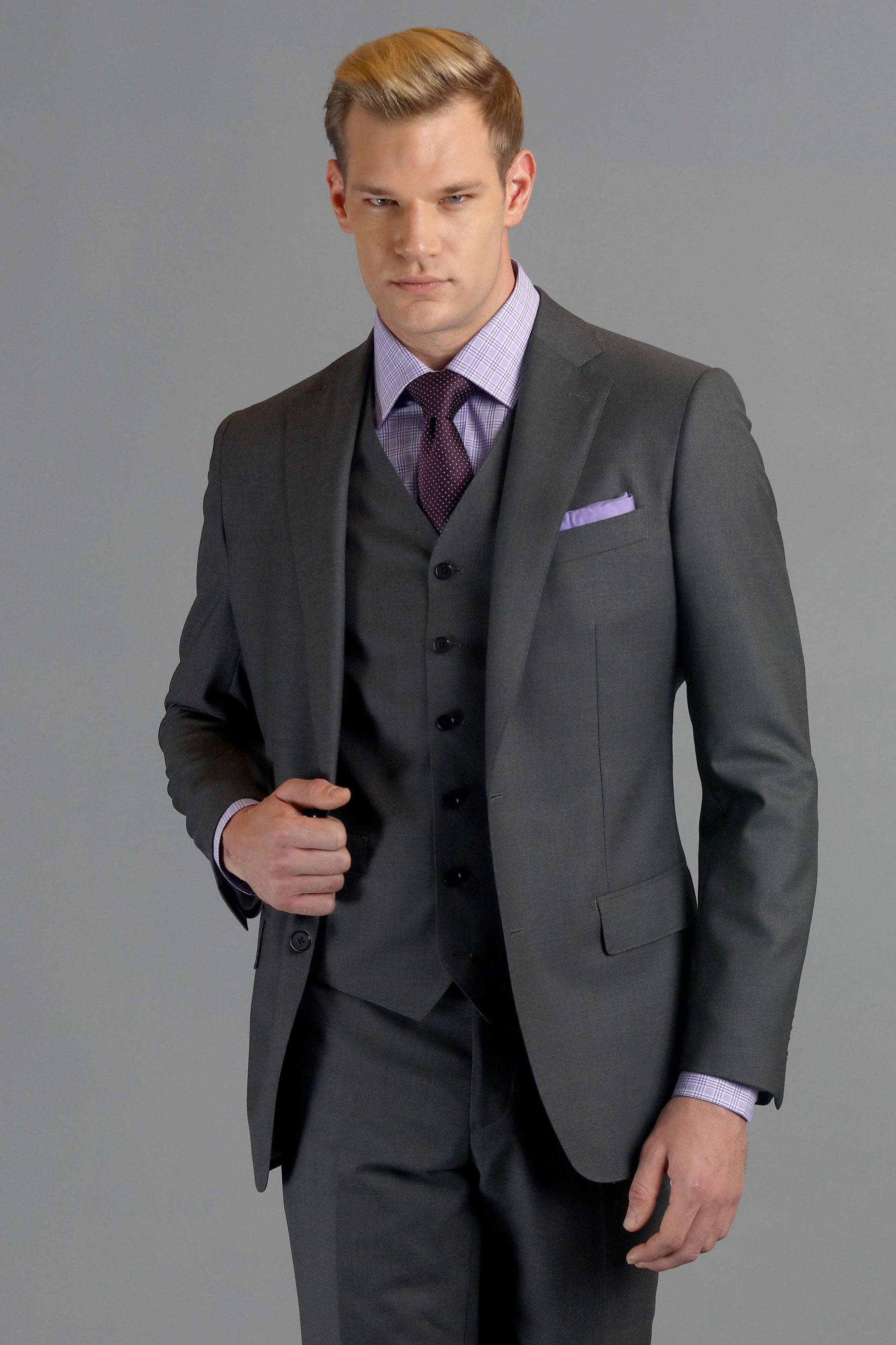 Medium Grey Sharkskin Two-Button Wool Suit