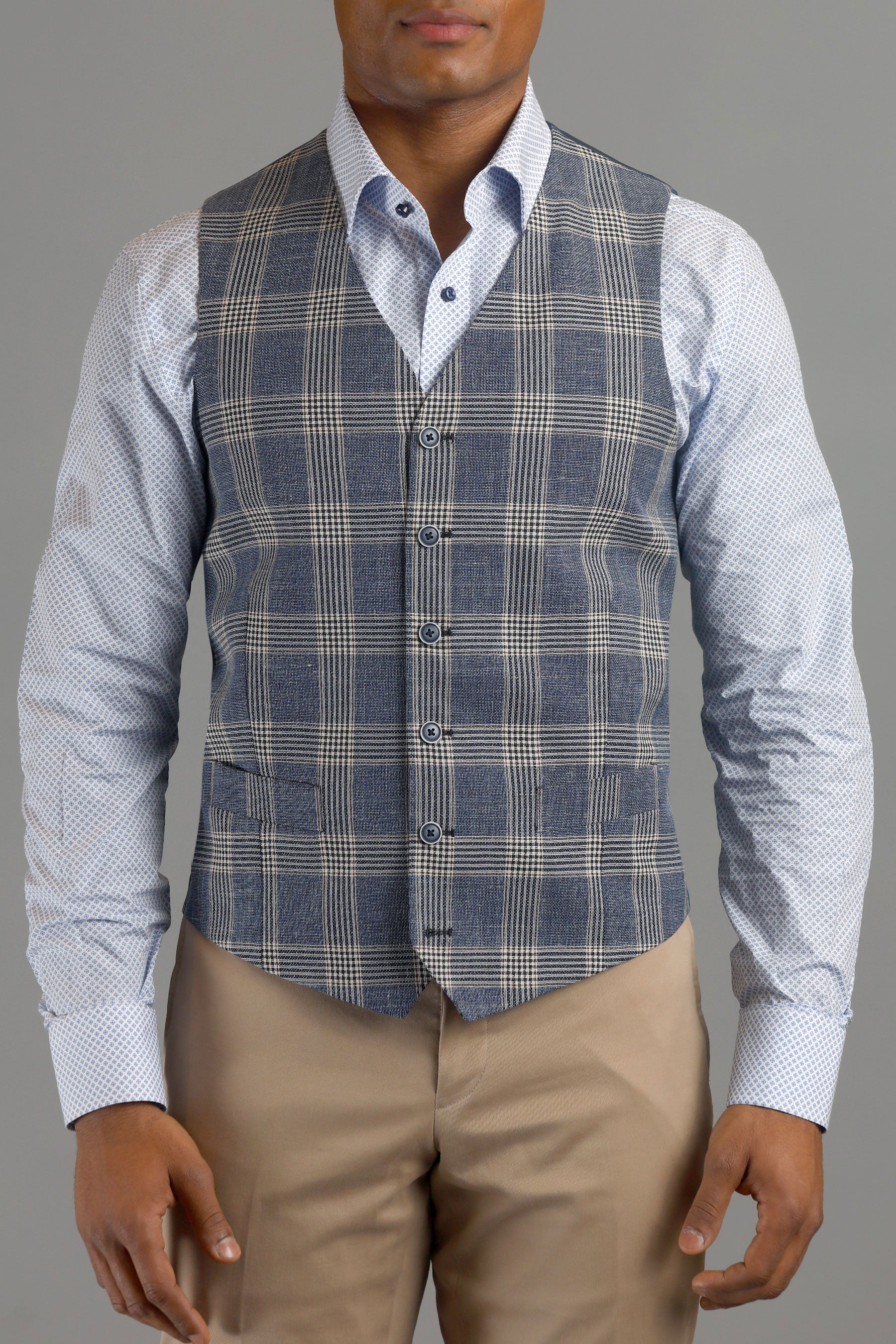 Blue and Tan Six-Button Plaid Wool Vest