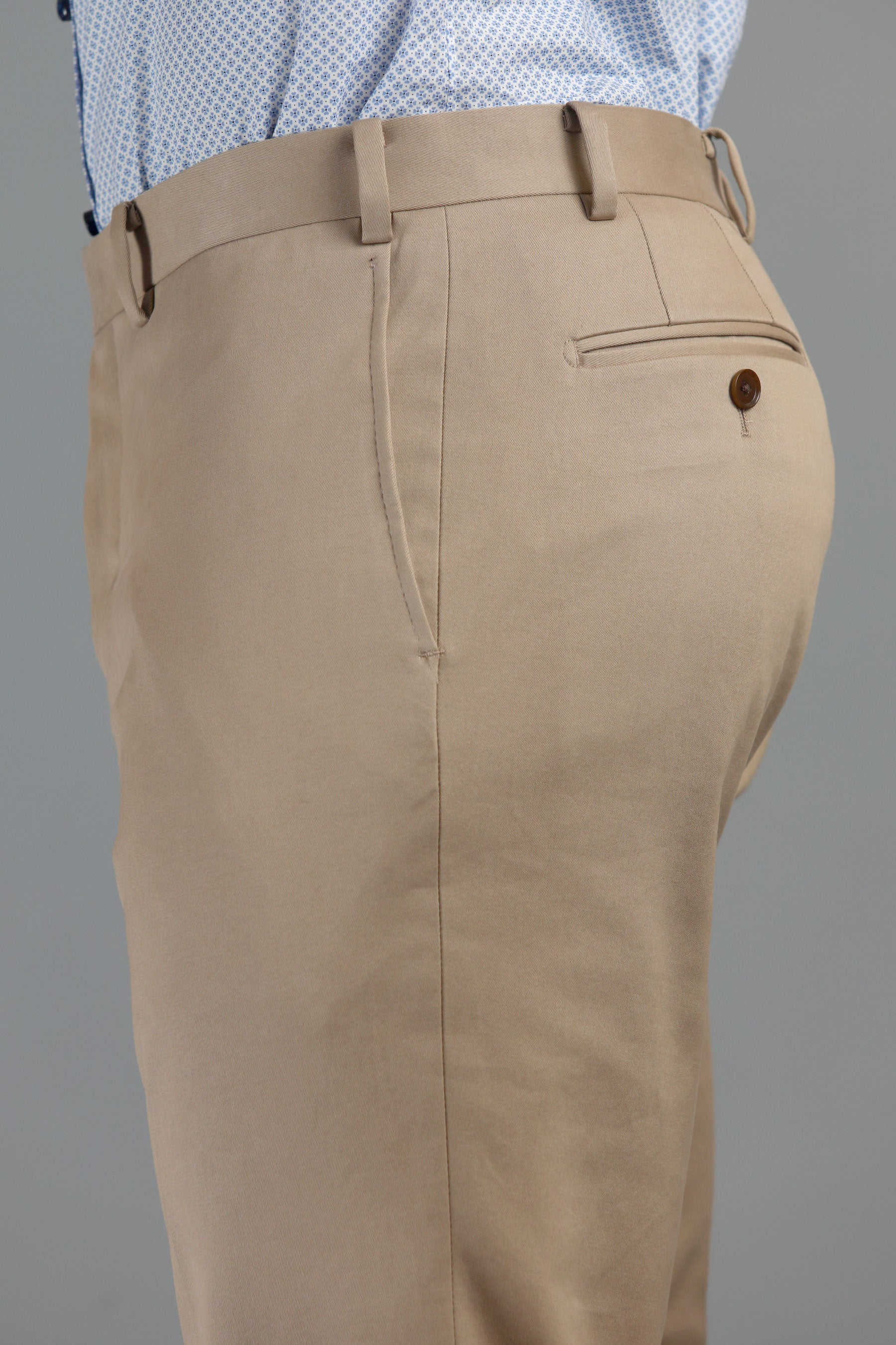Khaki Cotton Dress Trousers