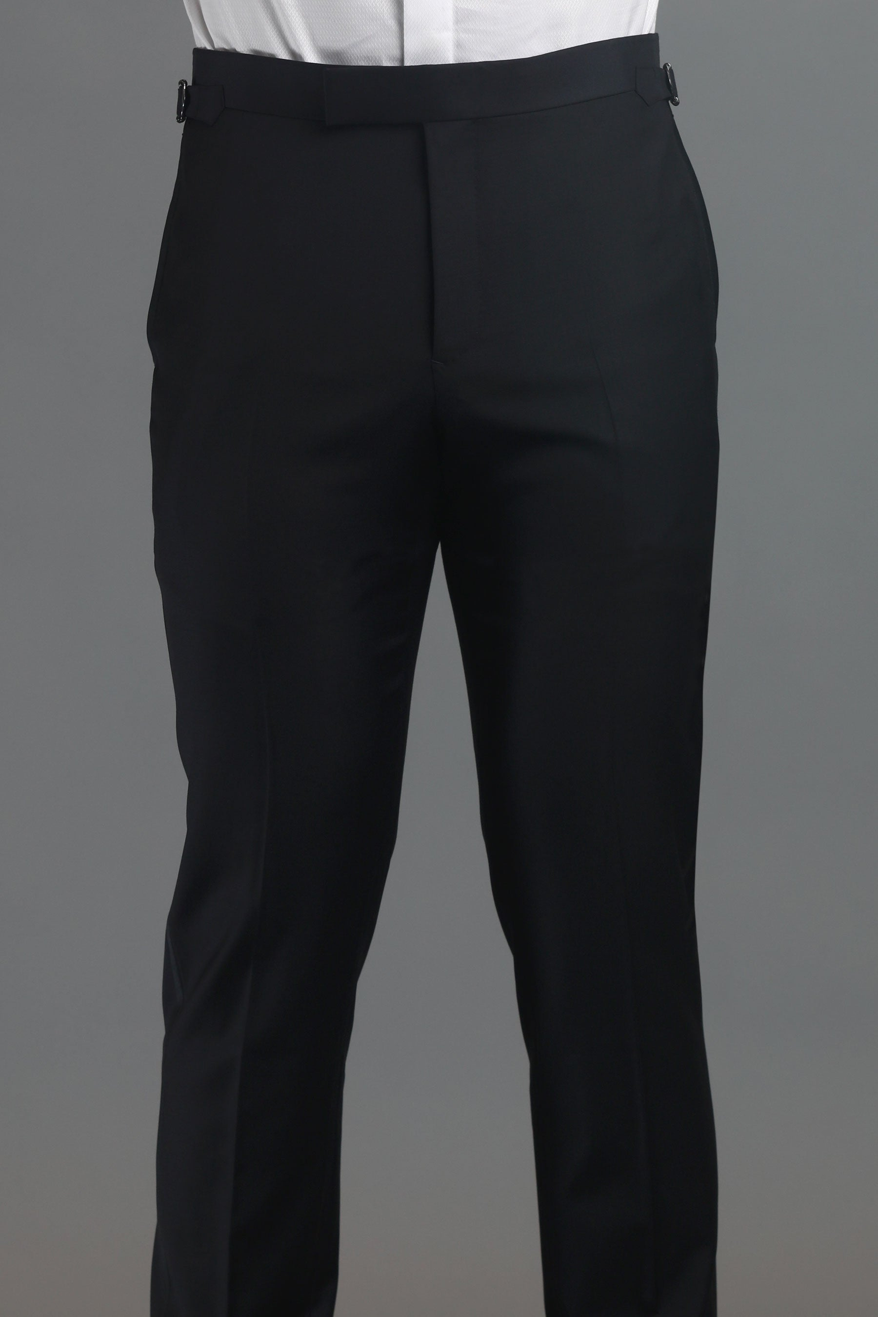 Black Twill Wool Dress Trousers