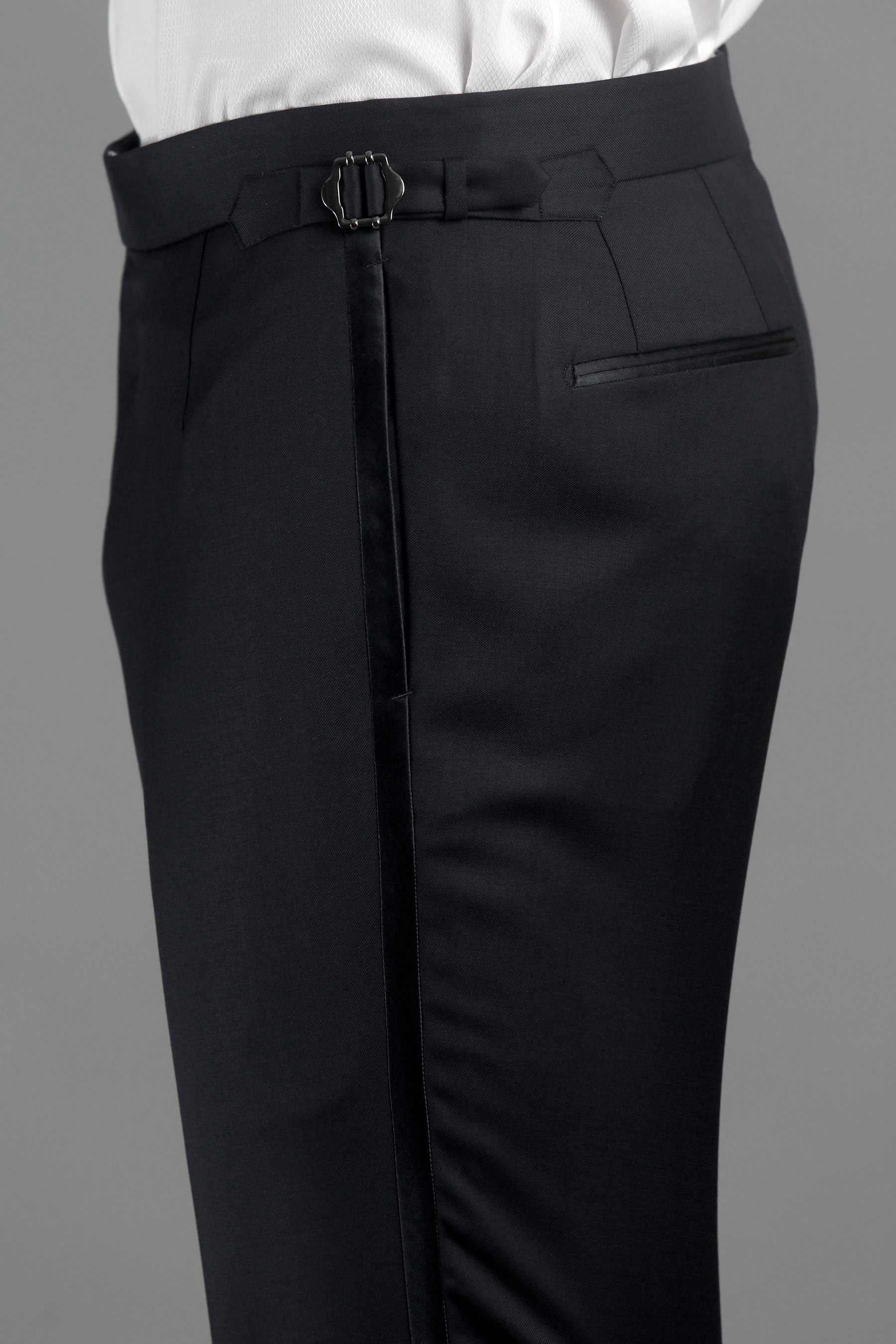 Black Wool Tuxedo Trousers with Grosgrain Trim