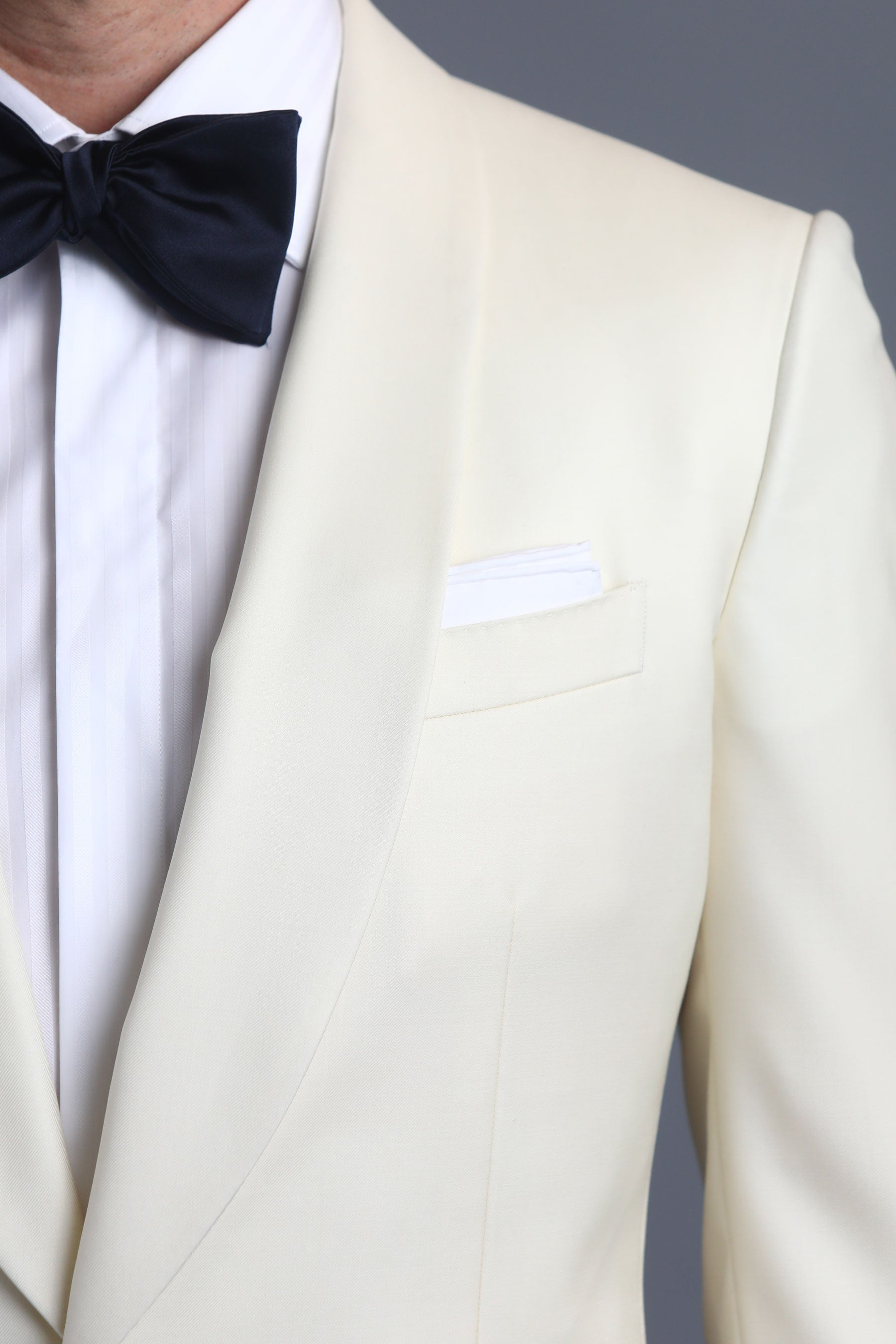 Ivory Shawl Collar One-Button Wool Dinner Jacket