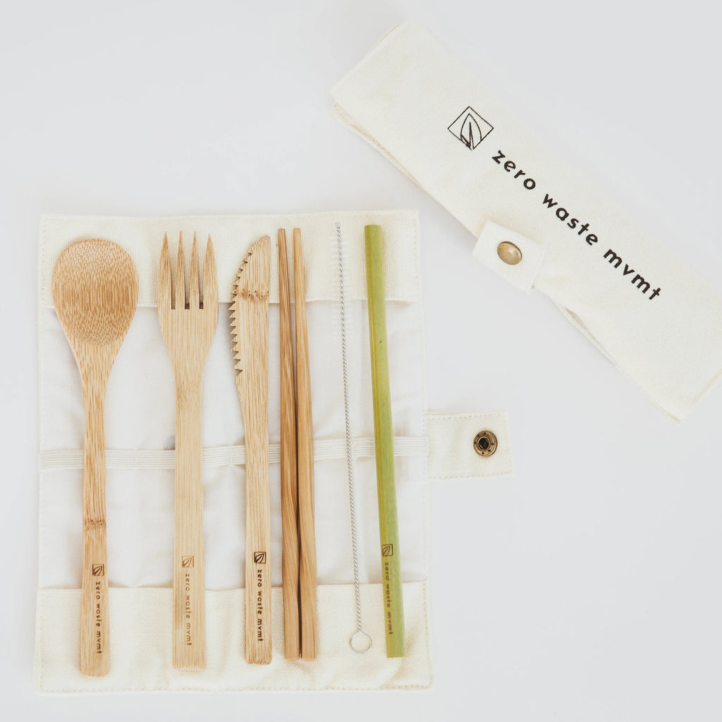 Travel Bamboo Utensil Set With Pouch Zero Waste MVMT Beige