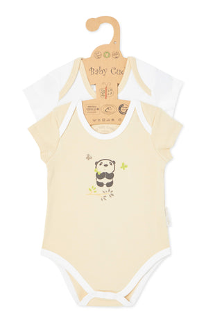 """Cuddle Me Panda & Love Me Giraffe"" S/S Bodysuit set"