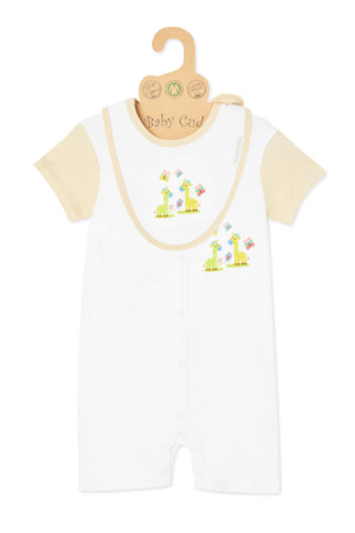 """Love Me Giraffe"" S/S, S/Leg Growsuit & Bib set"