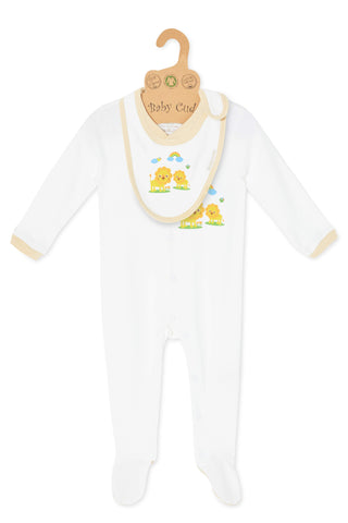 """Oh Little Lion"" L/S Growsuit w Mittens & Bib set"