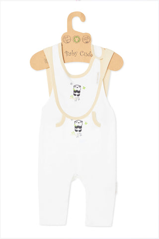 Cuddle Me Panda S/L Jumpsuit & Bib Set