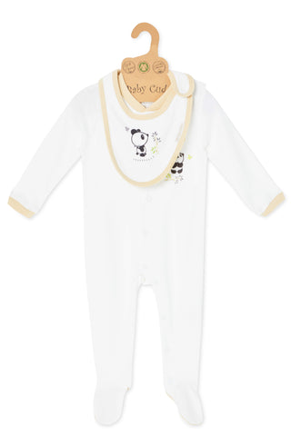 """Cuddle Me Panda"" L/S Growsuit w Mittens & Bib set"