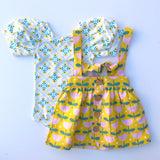 Puff Sleeve Leotard - Sunshine Lattice - Lemon and Lucy