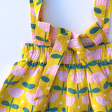 Linen Pinafore, Dancing Tulips - Lemon and Lucy