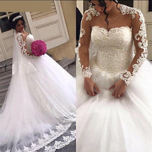 Gorgeous Lace Ball Gown Wedding Dresses Long Sleeves Sheer Neck 3D-Floral Appliques White Lace Up  Women Bridal Gown - moonaro