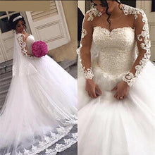 Load image into Gallery viewer, Gorgeous Lace Ball Gown Wedding Dresses Long Sleeves Sheer Neck 3D-Floral Appliques White Lace Up  Women Bridal Gown - moonaro