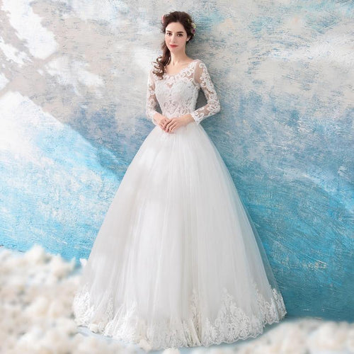 Ivory Wedding Dresses Long Sleeves Lace Applique Beads Transparent Ball Gown Long Floor Length Brides Gowns