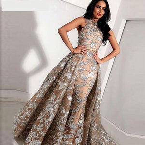 Long Grey Champagne Lace Mermaid High Neck Evening Dress Formal Evening Gowns with Detachable Skirt