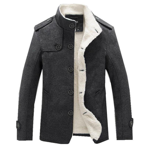 Men Wool Blend Coats Winter Fashion Men's Solid Color High Quality Coat Clothing Male Thick Warm Overcoat