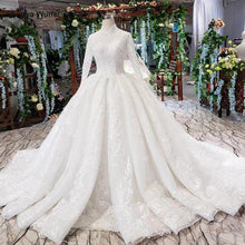 Load image into Gallery viewer, luxury wedding dresses long sleeves high neck lace up back appliques ball gown lace wedding gowns vestidos de boda
