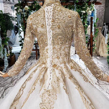 Load image into Gallery viewer, luxury wedding dresses woman high neck long sleeve lace up floor length princess bridal dresses golden mariage