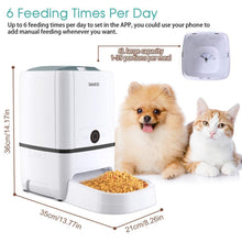 Load image into Gallery viewer, Automatic Cat Dog Feeder with WiFi Pet Food Dispenser 6 Meals Voice Recorder and Timer Programmable Portion Control