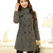 Load image into Gallery viewer, Women's Wool Blends Coat Fashion Elegant Turtleneck Plaid Slim Long Woolen Outerwear