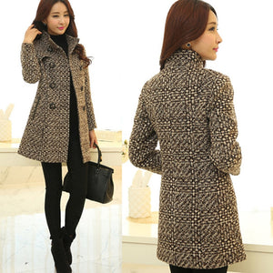 Women's Wool Blends Coat Fashion Elegant Turtleneck Plaid Slim Long Woolen Outerwear